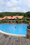Swimming pool in resort stock photos