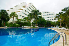 Swimming pool resort. Swimming pool in resort cancun hotel stock photo