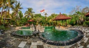 Swimming pool of resort in Bali, Indonesia royalty free stock image