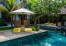 Swimming pool of resort in Bali, Indonesia royalty free stock image