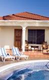 Swimming pool at resort cabanas Big Corn Island Ni Royalty Free Stock Photos