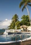 Swimming pool at resort cabanas Big Corn Island Ni Royalty Free Stock Images