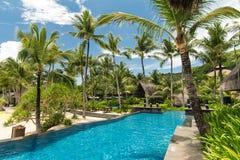 Swimming pool in resort royalty free stock photos