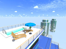 Swimming pool on the roof against the sky. Royalty Free Stock Photo