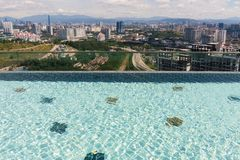 Swimming pool on roof top with beautiful city view kuala lumpur malaysia stock photography