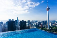 Swimming pool on rooftop with beautiful cityscape of Kuala lumpur royalty free stock images