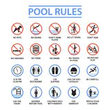 Swimming pool rules. Public and private pools rules to ensure health, safety and to provide enjoyable recreation. Vector flat style cartoon illustration Royalty Free Stock Image