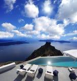 Swimming pool in Santorini Stock Image