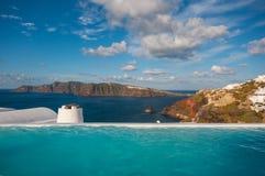 Swimming pool in Santorini Royalty Free Stock Image