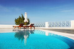 Swimming Pool Santorini Greece Travel Royalty Free Stock Image