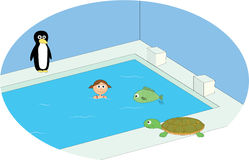 Swimming pool scene. With girl and animals Royalty Free Stock Image
