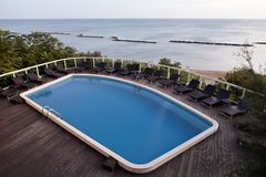 Swimming pool on the sea Royalty Free Stock Photography