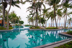 Swimming pool beside the sea with coconut tree. Royalty Free Stock Image