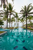 Swimming pool beside the sea with coconut tree. Royalty Free Stock Images