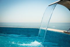 Swimming pool at the sea. Luxury hotel Stock Image