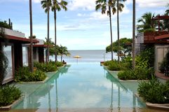Swimming Pool Sea Palm Tree Resort Stock Images