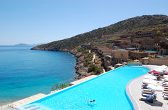 Swimming pool with sea view at the luxury hotel Stock Image