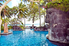 Swimming pool on Sengigi beach. Lombok island Royalty Free Stock Photos