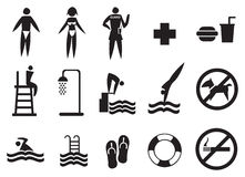 Swimming Pool Signs Vector Icon Set Royalty Free Stock Images
