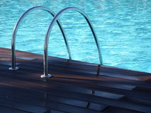 Swimming Pool silver handles. Swimming pool with turquoise blue water and silver handles Royalty Free Stock Image