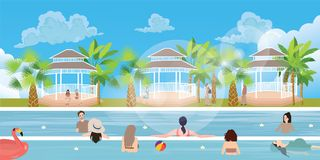 Swimming pool situation people family girl man woman having fun vacation happy outdoor Stock Images