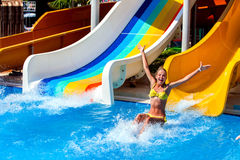 Swimming pool slides for children on water slide at aquapark. Stock Photography