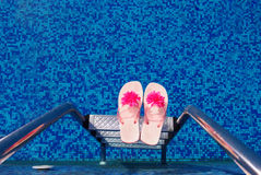 Swimming pool slippers Royalty Free Stock Image