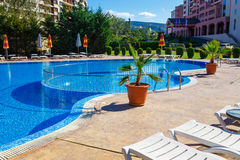 Swimming pool in spa resort. Royalty Free Stock Image