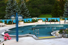 Swimming pool in Spa town Leukerbad Stock Photos