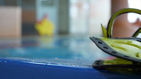 Swimming pool sport crawl swimmer athlete banner. Man doing freestyle stroke technique in water pool lane training for. Competition. Healthy active lifestyle Stock Images