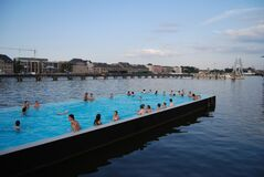 Swimming pool in the Spree Stock Image