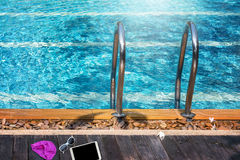 Swimming pool with stair Royalty Free Stock Images