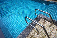 Swimming pool with stair at hotel Royalty Free Stock Photos