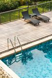 Swimming pool stair stock photo
