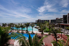 Swimming pool of a 5 stars luxury hotel at Vung Tau , Vietnam. Royalty Free Stock Photos