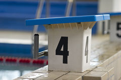Swimming pool starting block Royalty Free Stock Image