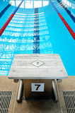 Swimming pool starting block Stock Photos