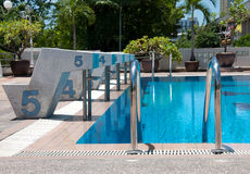 Swimming pool and starting places with stair at sport center Stock Photo