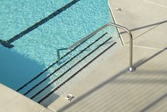 Swimming Pool Steps. Swimming pool access steps with railing Stock Image