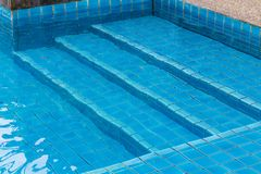 Swimming pool with a stone flooring beside it. Detail Royalty Free Stock Photos