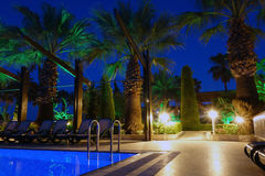 Swimming pool on summer beach by night Stock Photo