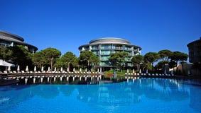 Swimming pool in summer resort royalty free stock photos