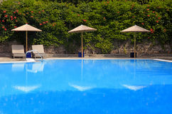 Swimming pool at summer resort, Greece Royalty Free Stock Photography