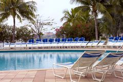 Swimming pool and sun loungers. Sun loungers surrounding outdoor swimming pool in Caribbean resort with palm trees in background royalty free stock photography