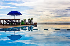 Swimming pool at sun rise. Royalty Free Stock Photography
