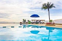 Swimming pool at sun rise. Royalty Free Stock Photos