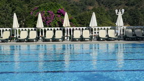 The swimming pool sunbeds and flowers at luxury hotel Royalty Free Stock Photo