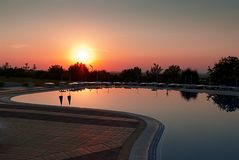 Swimming pool in sunrise Royalty Free Stock Photography