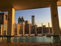 Swimming pool sunset in Atlanta Royalty Free Stock Photos