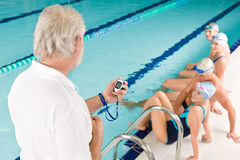 Swimming pool - swimmer training competition Royalty Free Stock Images